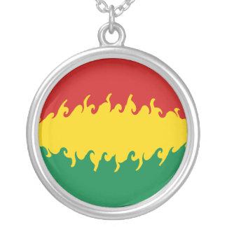 Bolivia Gnarly Flag Round Pendant Necklace