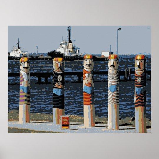 Bollards Geelong Oceanfront Poster