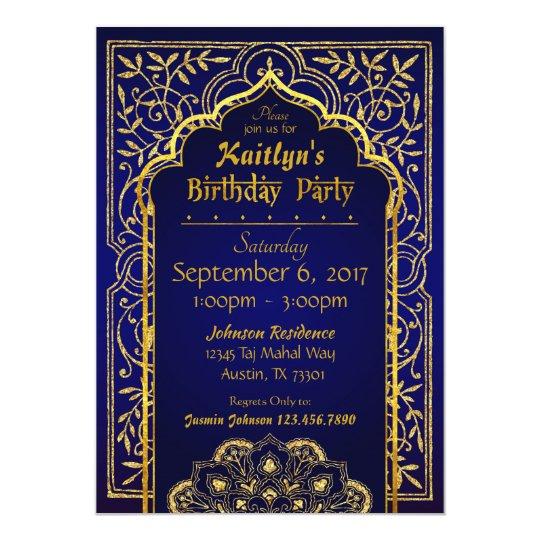 Bollywood Arabian Nights Birthday Invitation Card Zazzlecouk