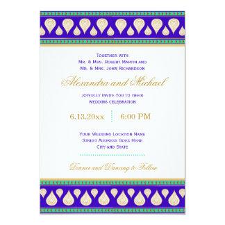 Bollywood India Blue Green Gold Colorful Wedding 13 Cm X 18 Cm Invitation Card