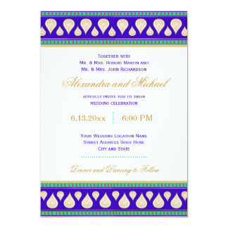 Bollywood India Blue Green Gold Colorful Wedding Card