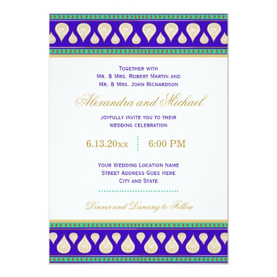 Bollywood India Blue Green Gold Colourful Wedding Card