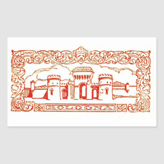Bologna Italy antique vintage art woodcarving seal Rectangular Sticker