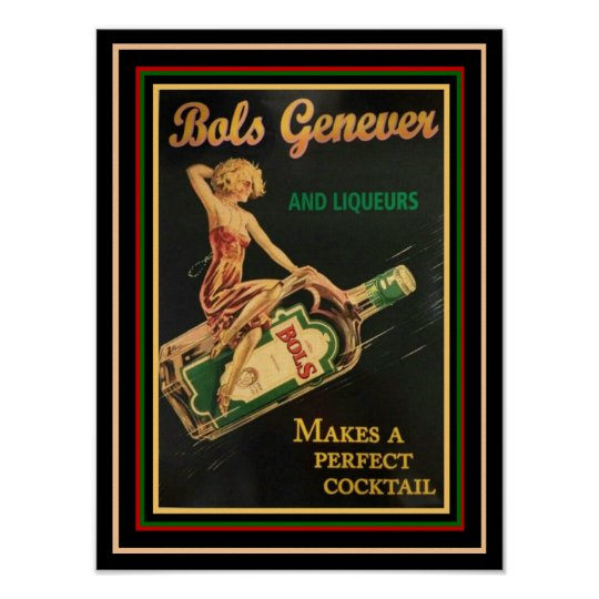 Bols Genever Vintage Ad Poster 12 x 16