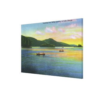 Bolton Landing View of Couples Canoeing Stretched Canvas Prints