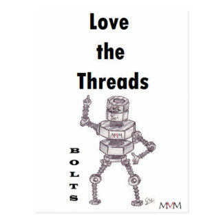 Bolts - Love the Threads Postcard