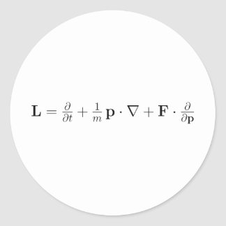 Boltzmann equation, black classic round sticker
