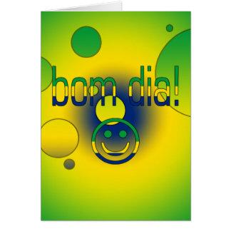 Bom Dia! Brazil Flag Colors Pop Art Greeting Cards
