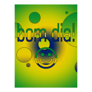 Bom Dia! Brazil Flag Colors Pop Art Poster
