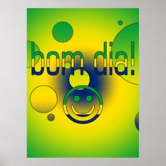 Bom Dia! Brazil Flag Colors Pop Art Poster