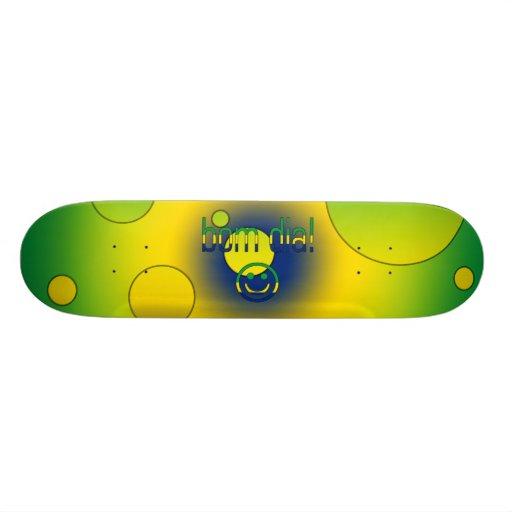 Bom Dia! Brazil Flag Colors Pop Art Skateboard Deck