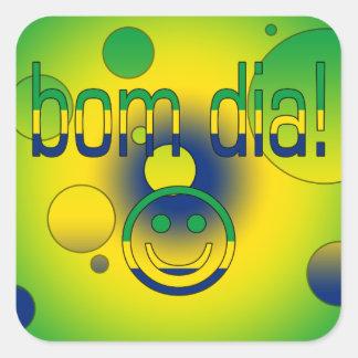 Bom Dia! Brazil Flag Colors Pop Art Square Stickers