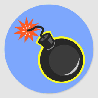 Bomb And Lit Fuse Round Sticker