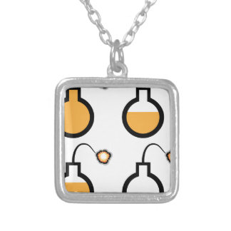 Bomb filled sparked vector square pendant necklace