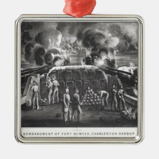 Bombardment of Fort Sumter, Charleston Harbour Silver-Colored Square Decoration