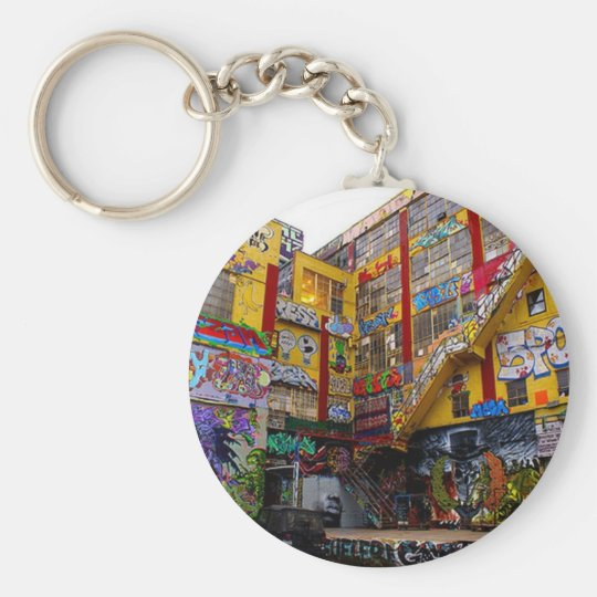 Bombed building basic round button key ring