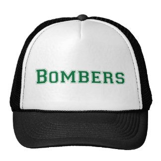 Bombers square logo in green mesh hats