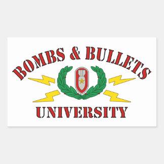 Bombs & Bullets University Rectangular Sticker