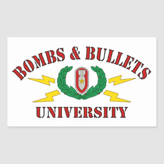 Bombs Bullets University Rectangle Stickers