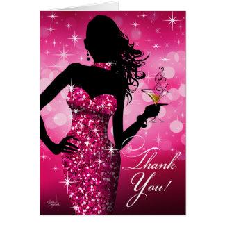 Bombshell Bling Glitter Thank You | fuchsia Card