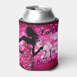 Bombshell Glitter Bling Sparkle Birthday | fuchsia Can Cooler