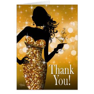Bombshell Glitter Thank You | gold Card