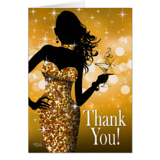 Bombshell Glitter Thank You | gold Greeting Card