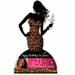 Bombshell Leopard 21st Birthday Table Centerpiece Standing Photo Sculpture