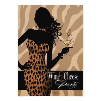 Bombshell Leopard Wine & Cheese Party Tan 13 Cm X 18 Cm Invitation Card