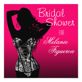Bombshell Lingerie Lace Corset Bridal Shower 13 Cm X 13 Cm Square Invitation Card