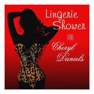 Bombshell Lingerie Leopard Corset Bridal Shower 13 Cm X 13 Cm Square Invitation Card