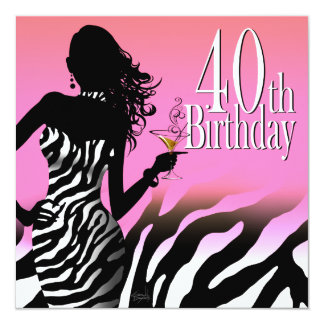 Bombshell Zebra 40th Birthday Party Dress Pink 13 Cm X 13 Cm Square Invitation Card