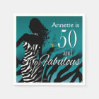 Bombshell Zebra 50th Birthday | teal Disposable Napkin