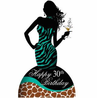 Bombshell Zebra Giraffe Birthday Table Centerpiece Standing Photo Sculpture