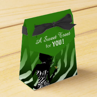 Bombshell Zebra | green Party Favor Box