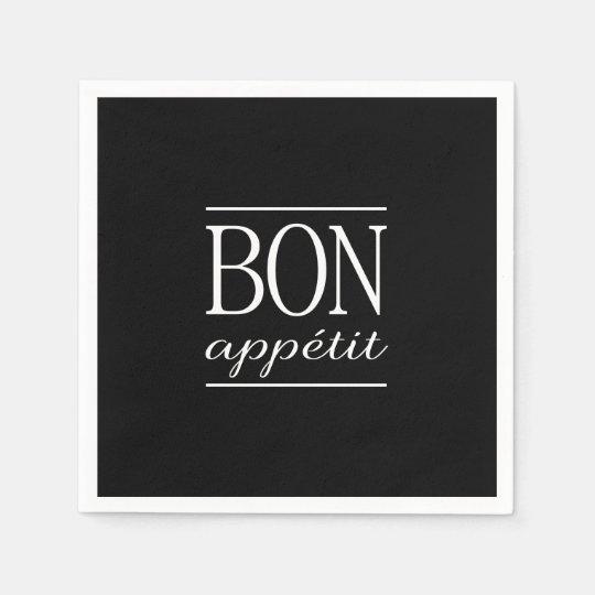 BON APPETIT Black & White Kitchen Quote Typography