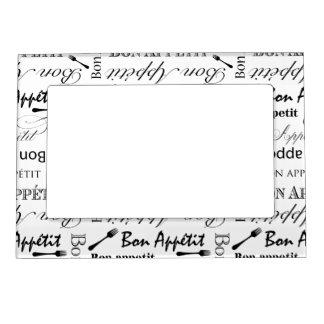 Bon Appetit Classic Black and White Pattern Magnetic Photo Frames