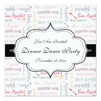 Bon Appetit Classic Pattern 13 Cm X 13 Cm Square Invitation Card