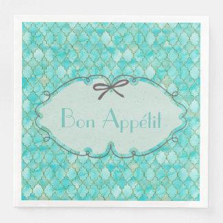 Bon Appétit -costumized Aqua Gold Maroccan pattern Disposable Napkins
