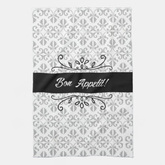 Bon Appetit Damask Black and Grey Tea Hand Towels