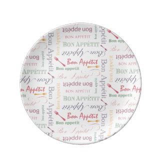 Bon Appetit Decorative Pattern Porcelain Plate