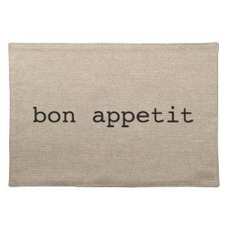 Bon Appetit French faux linen burlap rustic chic Place Mats
