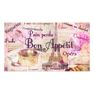 Bon Appétit French food words art vintage chef Double-Sided Standard Business Cards (Pack Of 100)