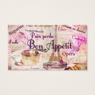 Bon Appétit French food words art vintage chef Business Card