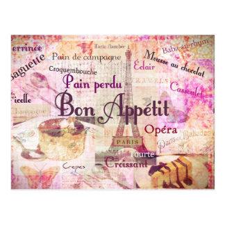Bon Appétit French food words KITCHEN art decor Postcards