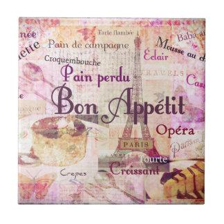 Bon Appétit French food words KITCHEN  art decor Tile