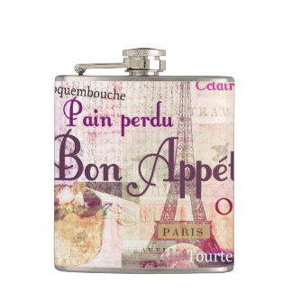 Bon Appétit French food words Paris theme art Hip Flask