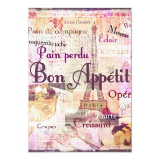 Bon Appetit French Style food words Paris theme 13 Cm X 18 Cm Invitation Card