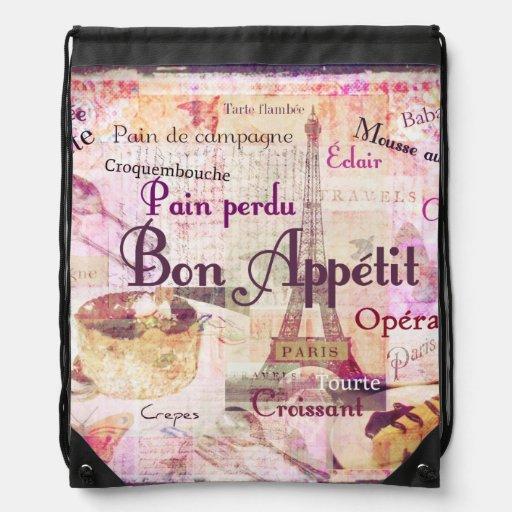 Bon Appetit French Style Food Words Paris Theme Rucksacks Zazzle