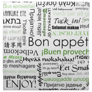 Bon appetit in different languages - forest green printed napkin